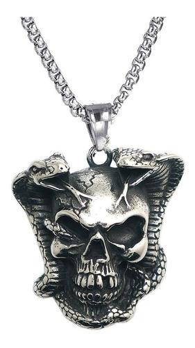 Collar Acero Inoxidable Cráneo Calavera Gótico Cobra Hombre