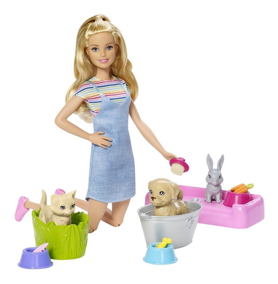 Boneca Articulada Barbie Banho Dos Filhotinhos Mattel Fxh11