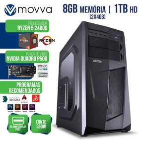Workstation Ryzen 5 2400g 3.6ghz 8gb 1tb Quadro P600