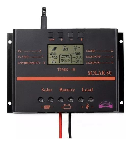 80a Controlador Carga Painel Solar Digital Lcd Usb 12 - 24v