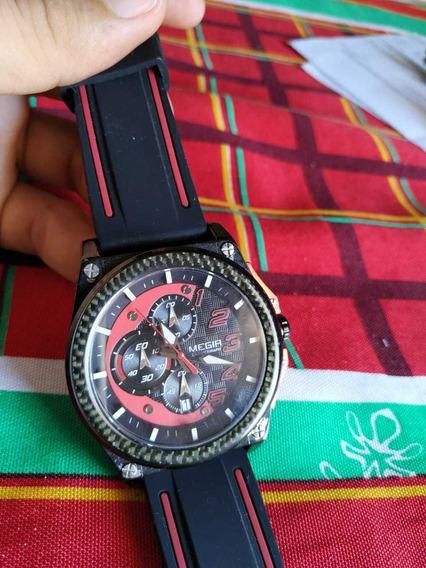 Relógio Megir Vermelho Com Preto - Usado, Sem Botões