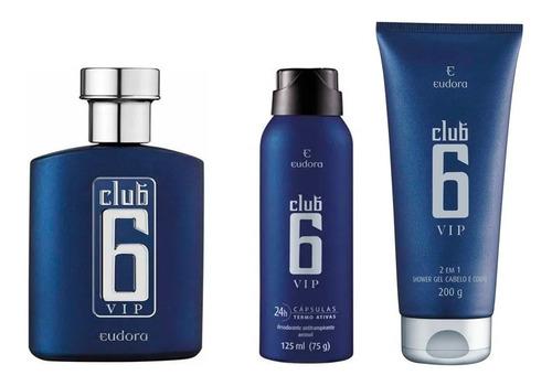 Club 6 Vip Colônia + Desodorante + Shampoo Shower Gel