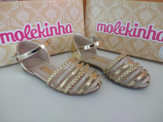 Sandália Infantil Molekinha Metal Glamour Dourado 2086157