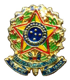 Brasão Broche Da República Do Brasil Bótom Pin De Lapela