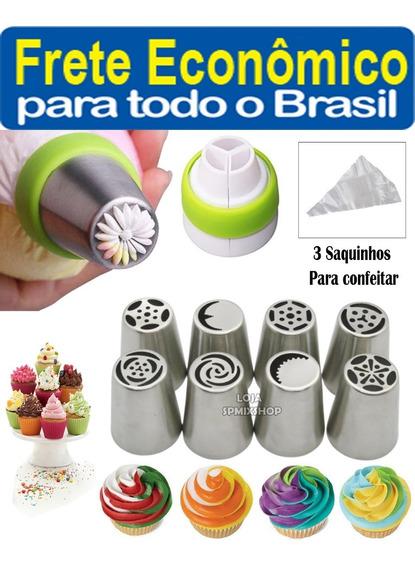 8 Bico Russo Inox + Adaptador + 3 Saco Bolo - Frete R$10,00