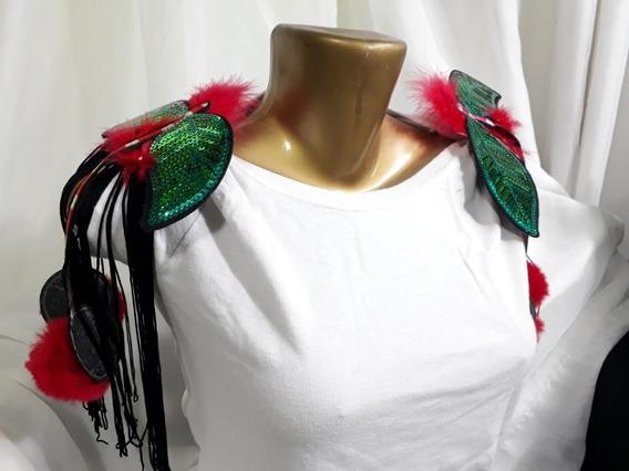 Ombreira Carnaval Pompom Franja Vermelho