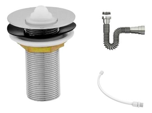 Kit C/válvula P/lavatório 7/8 + Sifão Cromado + Flexível