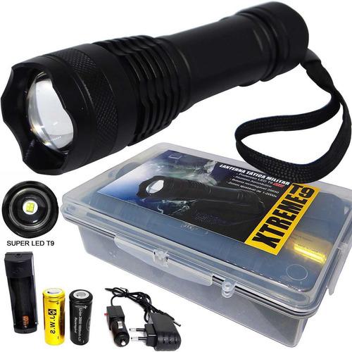 Imagem 1 de 6 de Lanterna Tática Xtreme Led T9 Completa C/ 2 Baterias