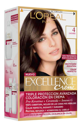 Tinta Loreal Excellence Creme Castaño 4