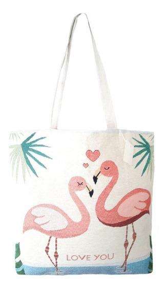 Frete Grátis Bolsa Praia Feminina Lona Casal Flamingo Amor