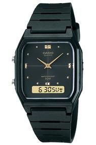 Relógio Casio Unissex Vintage Aw48he 1av Preto Anadigi