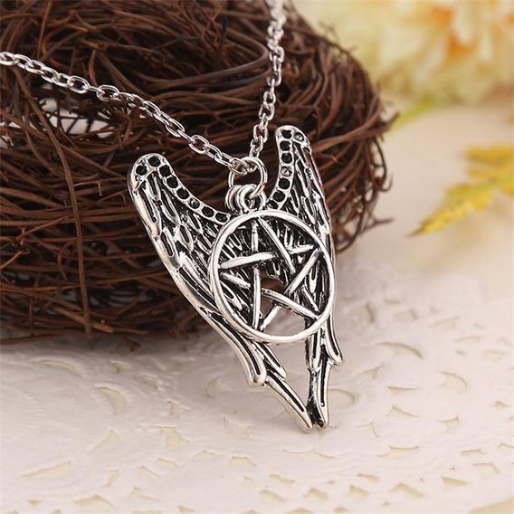 Colar Supernatural - Pentagrama Castiel Asas