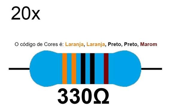 20 Resistor 330 Ohms 1/4 W 1% Azul Led 5v Arduino Raspberry