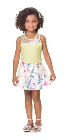 Conjunto Milon Roupa Infantil Festa Saia Verão Feminino 4