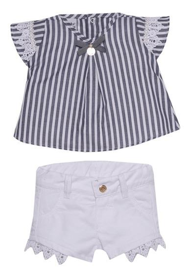 Conjunto Infantil Feminino Short E Blusa Tecido