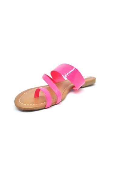 Rasteirinhas Femininas Chinelo Tiras Neon Pink Dani K