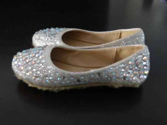 Zapatos Chatitas Brillos Plateado Nena Fiesta Lv Importados