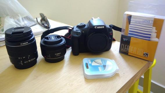 Camera Canon T5 / Lentes: 18-55mm + 50mm + Bolsa + Kit Clean