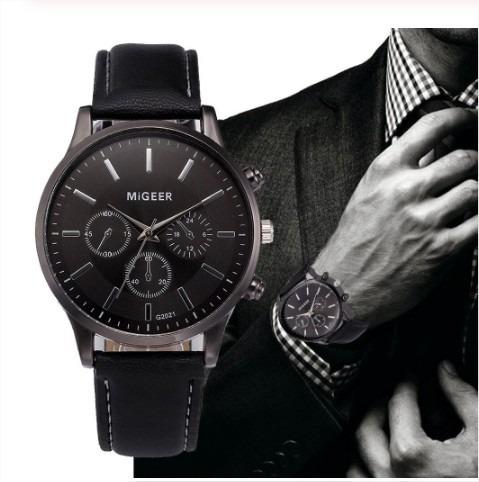 Relógio Masculino Migeer Luxo Pulseira Couro + Caixinha E Pilha Extra De Brinde - Pronta Entrega