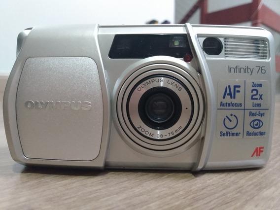 Câmera Analógica Antiga Filme 35mm Olympus Infinit 76 Zoom