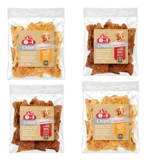 Petisco Cães 2 Chips Frango 220g + 2 Chips Carne 220g 8in1