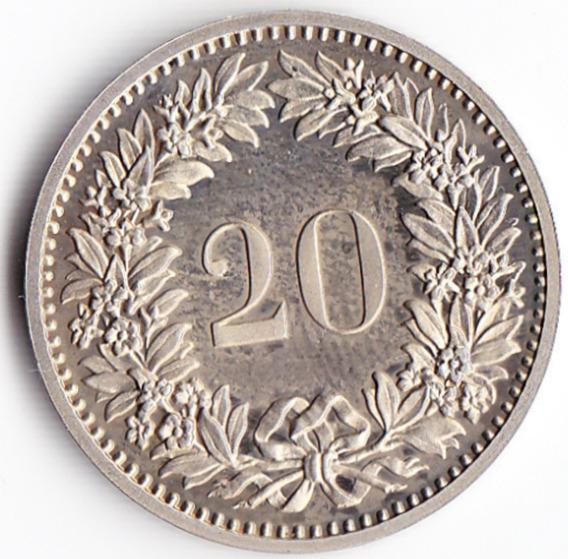 Suiza Moneda 20 Centimos Niquel Año 1978 Km# 29a Unc