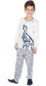 Pijama Infantil Menino Meia Malha Longo Inverno Dinossauro