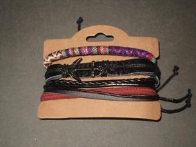 Kit Com 5 Pulseiras De Couro-vários Modelos