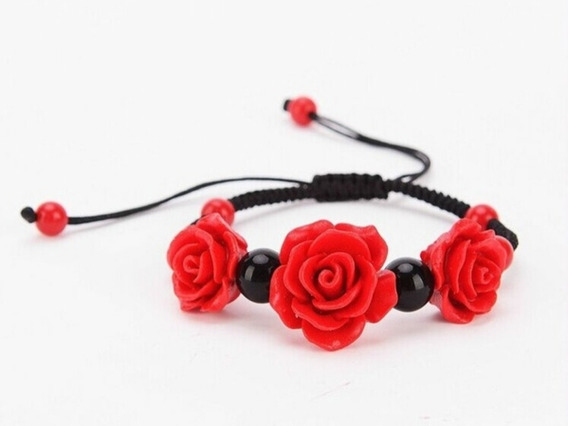 Pulseira Rosa Flor Vermelha Vintage Em Resina Ajustável