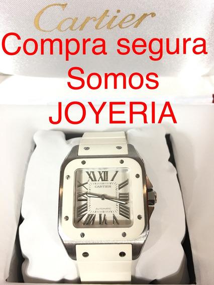 Cartier 75mil Santos 100 Mediano Caucho Certificado Y Caja