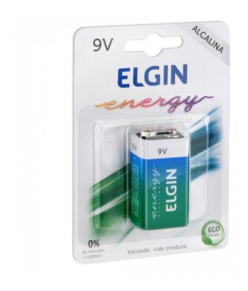 Blister 1 Bateria 9v Alcalina 6lr61 Elgin Certificad Inmetro