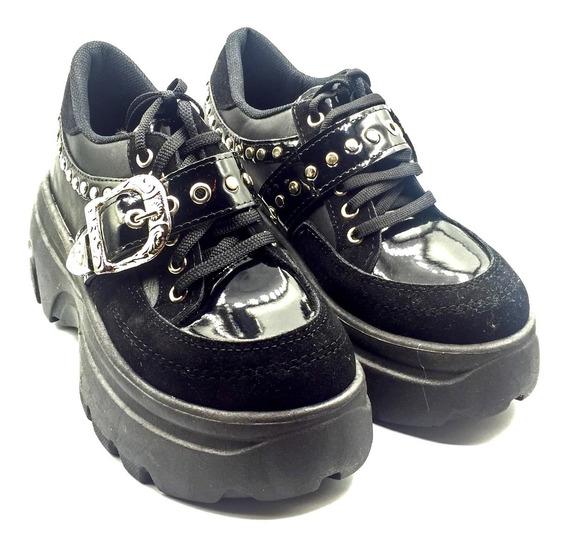 Zapatillas Style Balenciaga Plataforma Negras Charol Hebilla