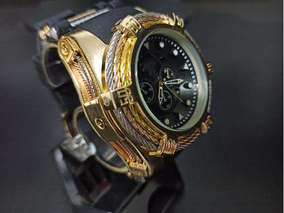 Relógio De Pulso Dourado Pulseira Preta De Borracha