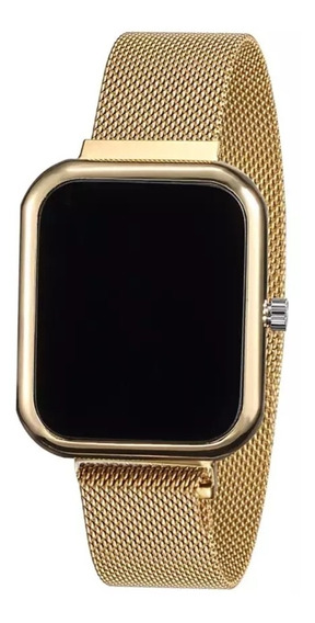 Relógio Led Dourado/ Moda 2020