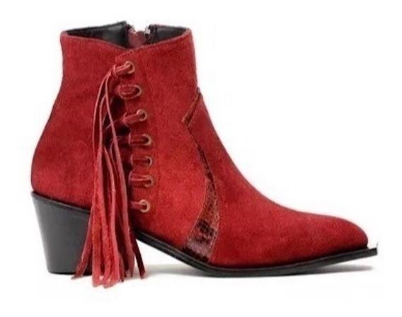 Zapato Mujer Bota Natacha Con Flecos Gamuzon Bordo #780m