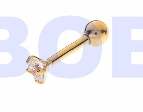 Piercing Trágus, Brinco ,cartilagem Banhado A Ouro