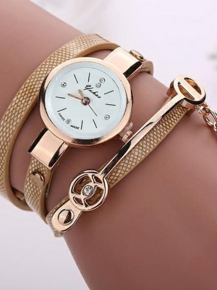 Relógios Feminino Pulseira Em Couro Retro Vintage + Brinde