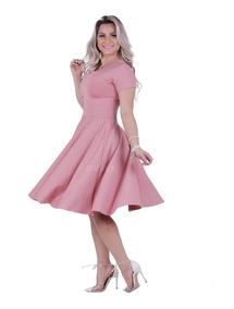 Vestido Midi Corte Godê Rodado Em Suplex Moda Evangélica
