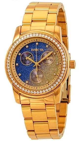 Relógio Invicta Feminino Angel 23822 Dourado Anjo Banhado Ouro 18k Original Nota Fiscal Garantia + Brinde Oferta Joclock