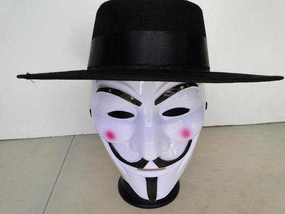 Capa Preta + Mascara + Chapeu Para Fantasia V De Vingança
