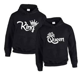 Kit C/2 Blusa Moletom Canguru Unissex Casal King & Queen