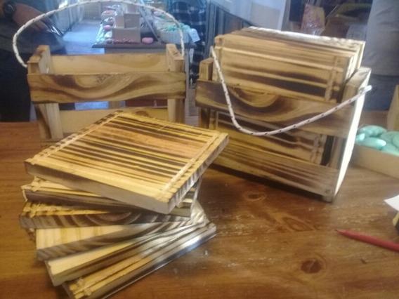 6 Platos Asado Tabla En Kit Set Con Caja
