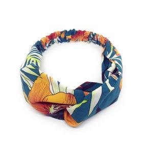 Faixa Elástica Cabelo Feminina Tecido Estampado Tropical