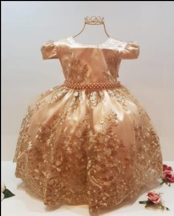 Vestido Infantil Luxo Princesa Realeza Dourado Festa Menina