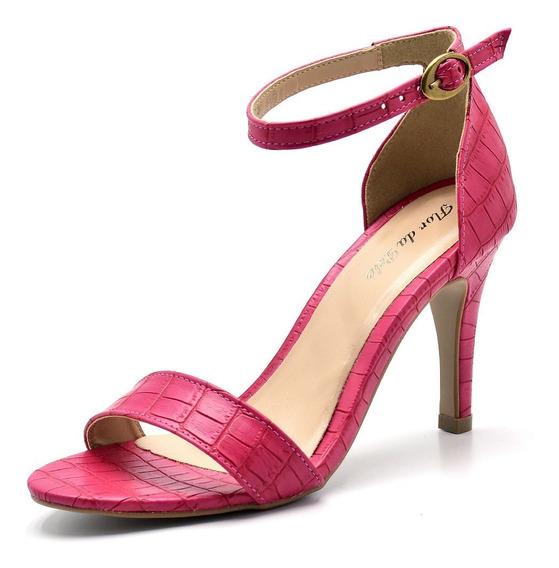Sandalia Salto Alto Fino Feminino Estilo Arezzo 1725 Pink