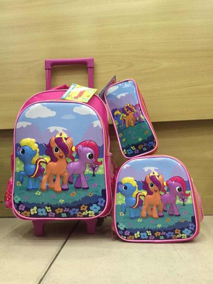 Kit Mochila Infantil Unicornio Rodinha+ Lancheira +estojo-3d