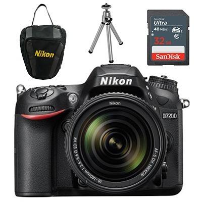 Câmera Nikon D7200c/ 18-140mm+ 32gb+ Bolsa+ Mini Tripé