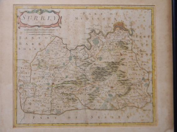 Antiguo Mapa Original Condado De Surrey By Rob. Morden 1695