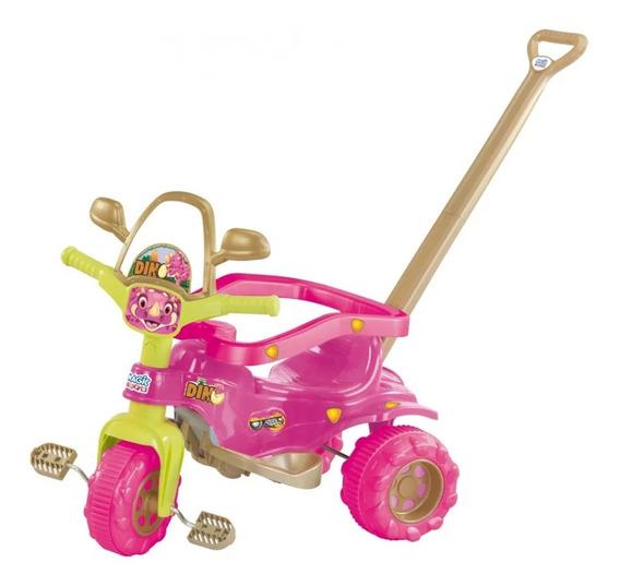 Mini Triciclo Velotrol Motoquinha Infantil Menina Dino Rosa