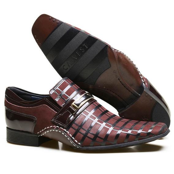 Sapato Social Masculino Em Couro Moderno Calvest Detalhes